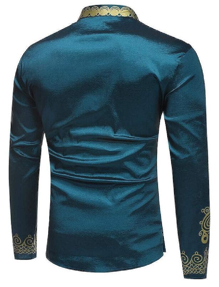Esast Mens Winter African Print Long Sleeve Stand Collar Dashiki Shirt Tops