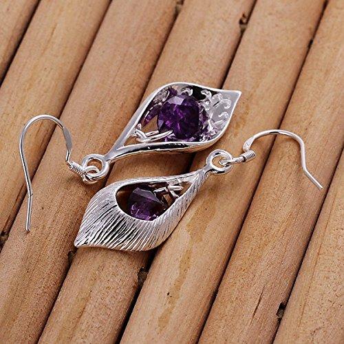 Boucles d'oreilles JewelleryClub Plaqué Argent Violet Cristal Swarovski Elements Shell pour les femmes