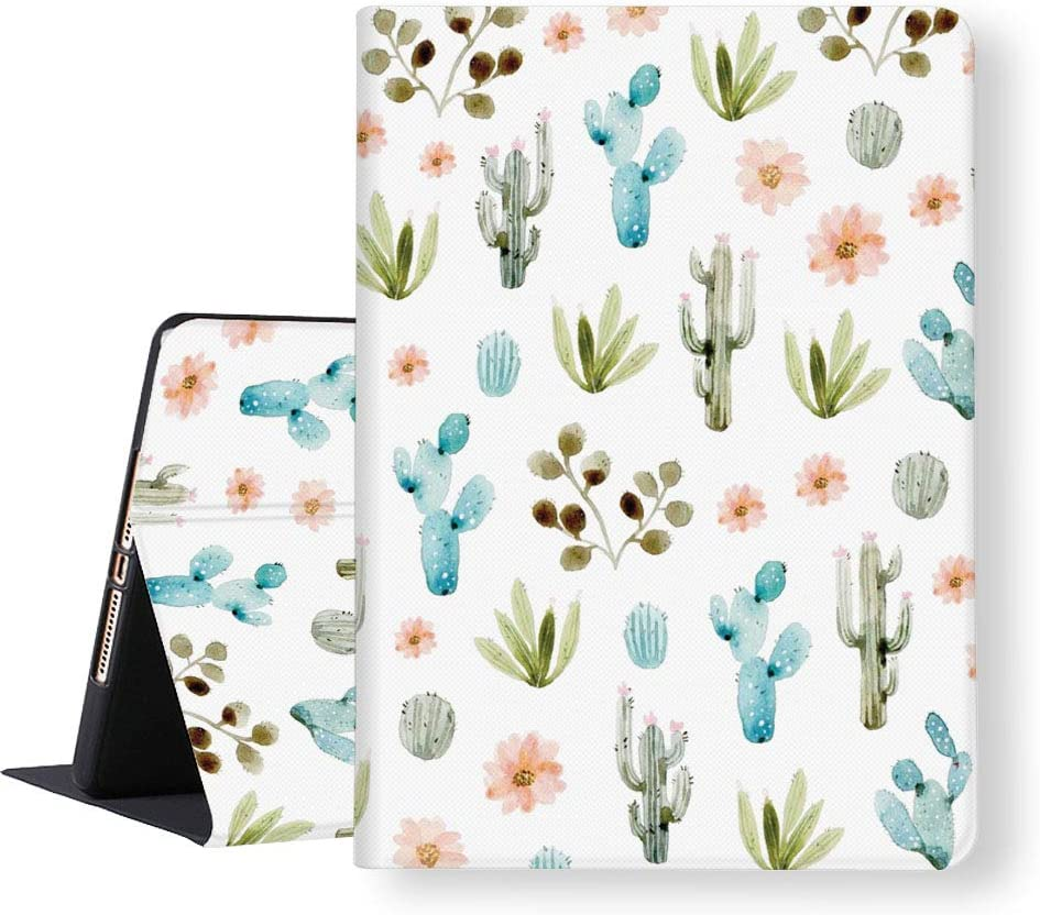 """iPad 8th/7th Generation 2020/2019 Case 10.2 inch Slim Lightweight Soft TPU Folio Stand Cover Cute Watercolor Cactus Cacti 10.2"""" Auto Wake/Sleep Smart Protective Cases PU Leather Adjustable Angles"""