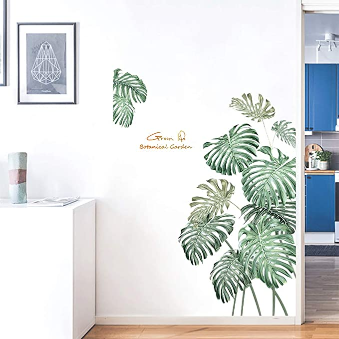 Flamingo Tropical Leaves Green Plant Wall Stickers PVC Decal Nursery Art Decor