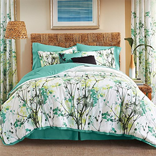Funky Sheet Sets (Brylanehome Funky Floral Oversized Multi-Pc. Comforter Set (White Green Multi,Queen))