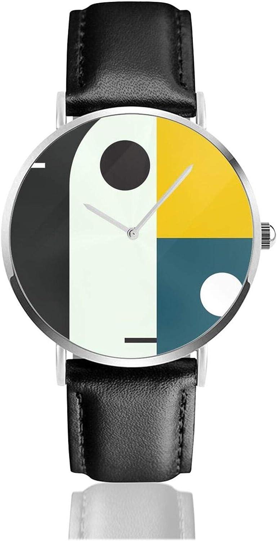 Reloj de cuero Bauhaus Age Unisex clásico casual de moda reloj de cuarzo de acero inoxidable con correa de cuero
