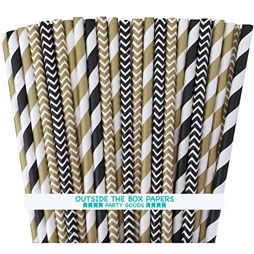 Outside the Box Papers Black and Gold Chevron and Striped Pa