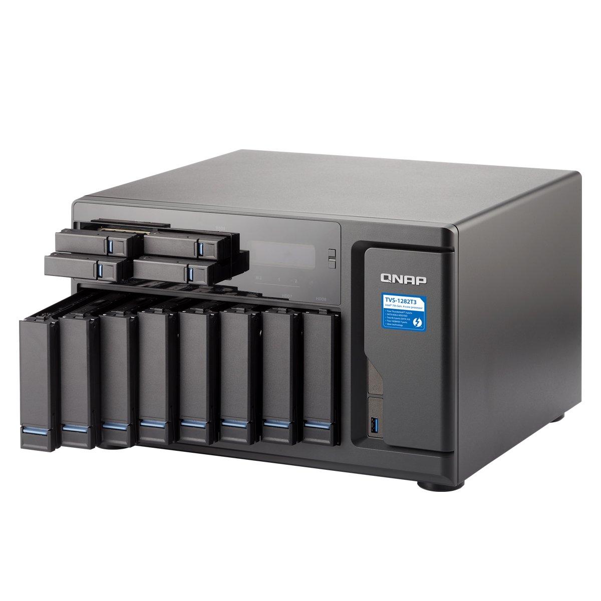 QNAP TVS-1282T3 Ultra-High Speed 12 Bay (8+4) Thunderbolt 3 NAS/iSCSI  IP-SAN  Intel 7th Gen Kaby Lake Core Thunderbolt3 Port x 4 and 10Gbase-T x 2