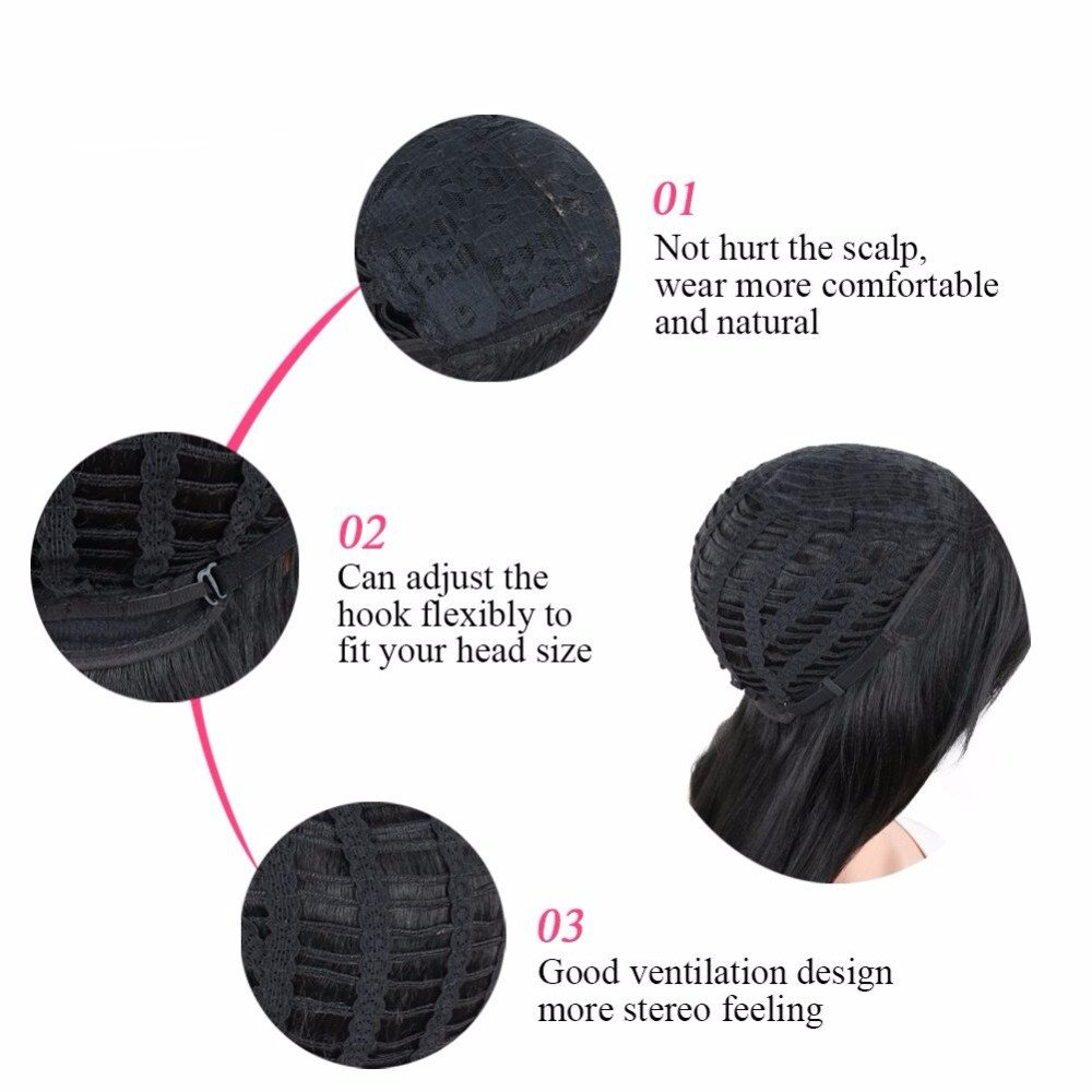 ELIM Short Curly Kinky Wigs for Black Women Fluffy Wavy Black Synthetic Hair Wig Natural Looking Wigs Heat Resistant Wigs with Wig Cap 16'' 250g Z014 by ELIM (Image #6)