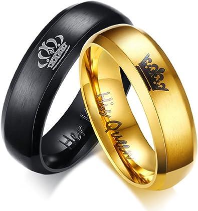 Su Rey Negro/Anillo de oro su reina – para hombre Mujer Acero ...