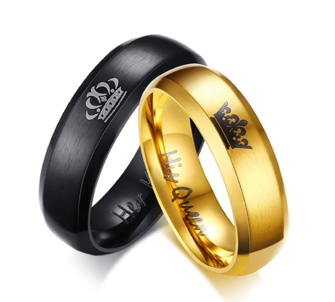 Her King Black/His Queen Golden Ring - Mens Women Stainless Steel Rings Wedding Band Anniversary Engagement Promise Ring Blowin BW13P12001