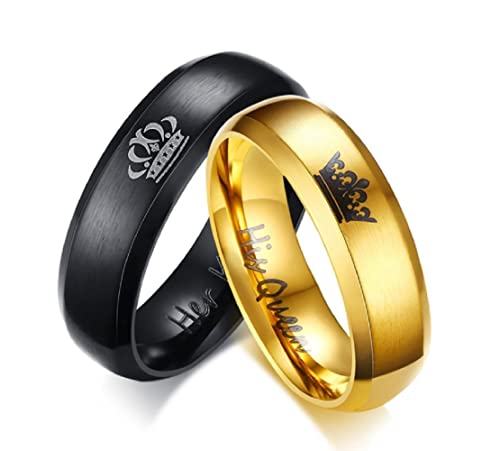 "Amazon.com: Anillos de oro ""Her King Black"" y ..."
