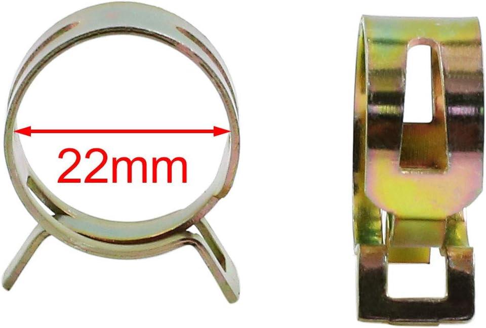 sourcing map 15pc 22mm Clip Ressort Carburant Auto Conduite Eau Collier Fixation Flexible air