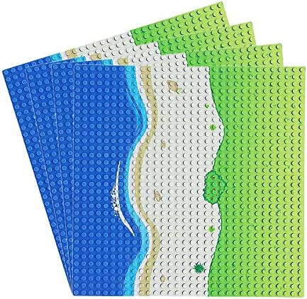Feleph 4 PC Grass Oasis Beach Straight / Curve Road Base Plate Building Kit 10 x 10 Inches Pirates Sea Baseplate for Building Bricks Compatible with All Major Brands (Straight-4)