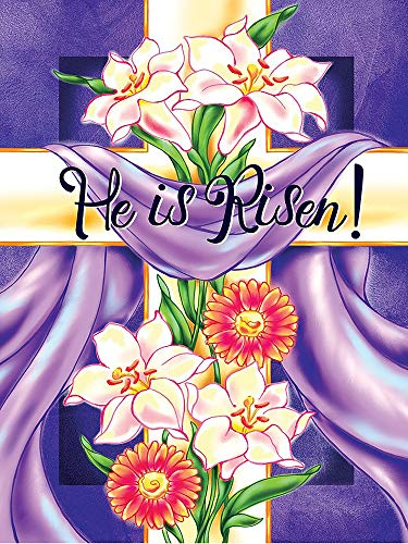 Wamika Easter Cross He is Risen Garden Flag 12 x 18 Double Sided, Easter Lilies Spring Flower House Yard Flags Welcome Outdoor Indoor Banner for Party Holiday Home - Easter Flag Cross