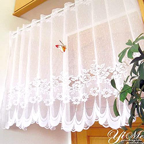 KMSG 1 Panel Dining Room Rod Pocket White Lace Sheer Curtains Valance 35 Inch Long Wave Bottom Kitchen Voile Curtain Cafe Door Curtain Short Curtain Tier Window Treatment Drapes Tulle Room Divider