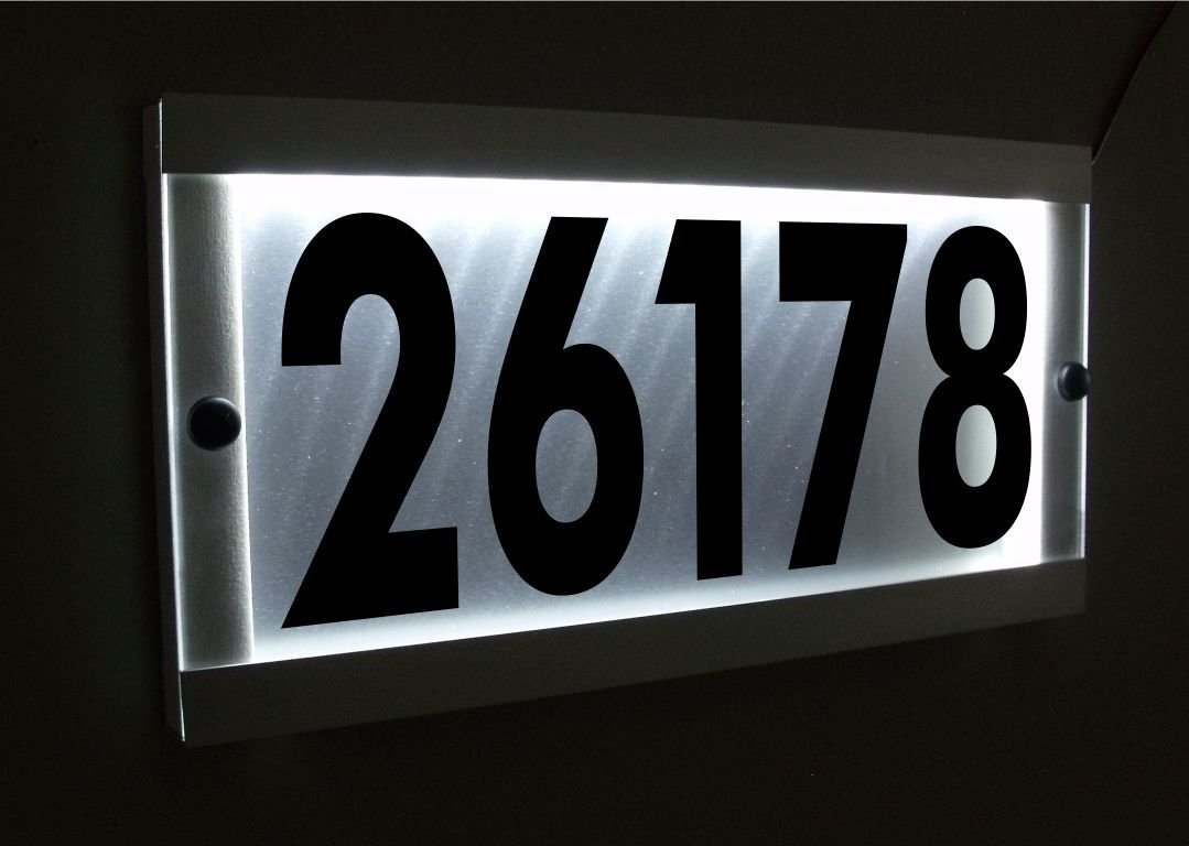 WATERPROOF ALUMINUM FRAME LED ADDRESS SIGN. LED LIGHTED STREET ADDRESS SIGNS. HOUSE NUMBER SIGN.
