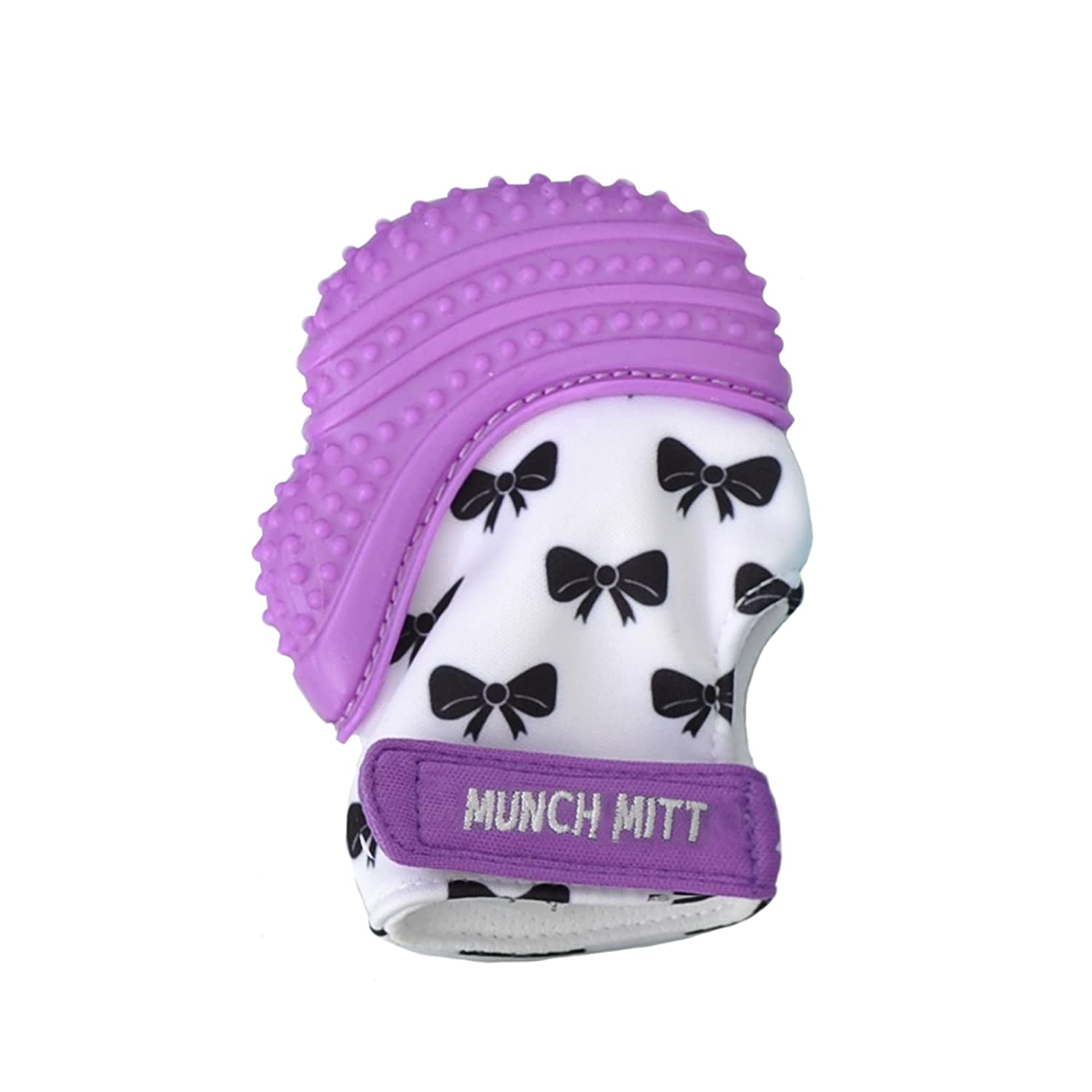 Munch Mitt Teething Mitten the Original Mom Invented Teething Toy- Teether Stays on Babys Hand for Pain Relief & Stimulation- Ideal Baby Shower Gift with Handy Travel/Laundry Bag- Purple Bows