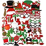 PBPBOX 62pcs Merry Christmas Photo Booth Props Christmas Party Accessory for Atmospheric and Funny Images at Christmas Time