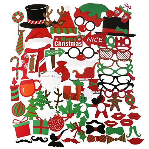 PBPBOX 62pcs Merry Christmas Photo Booth Props Christmas Party Accessory for Atmospheric and Funny Images at Christmas - Card 1 Photo Christmas