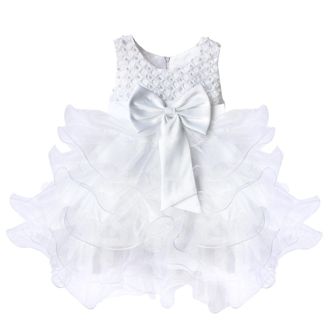 65b7a5f7c6c12 TiaoBug Robe de Baptême Bébé Fille Robe de Cérémonie Jupe Tutu Robe  Froufrous 3 Mois-4 Ans (9-12 Mois