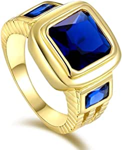 Men's Yellow Gold K18 Plated Ring Blue Sapphire gemstone Size US 8