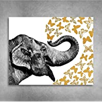 Gold Foil Art Print - Elephant With Gold Foil Butterflies 8x10 inches