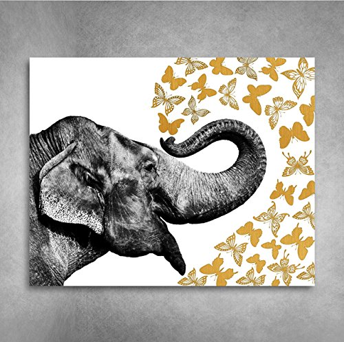 Free Gold Foil Art Print - Elephant With Gold Foil Butterflies 8x10 inches
