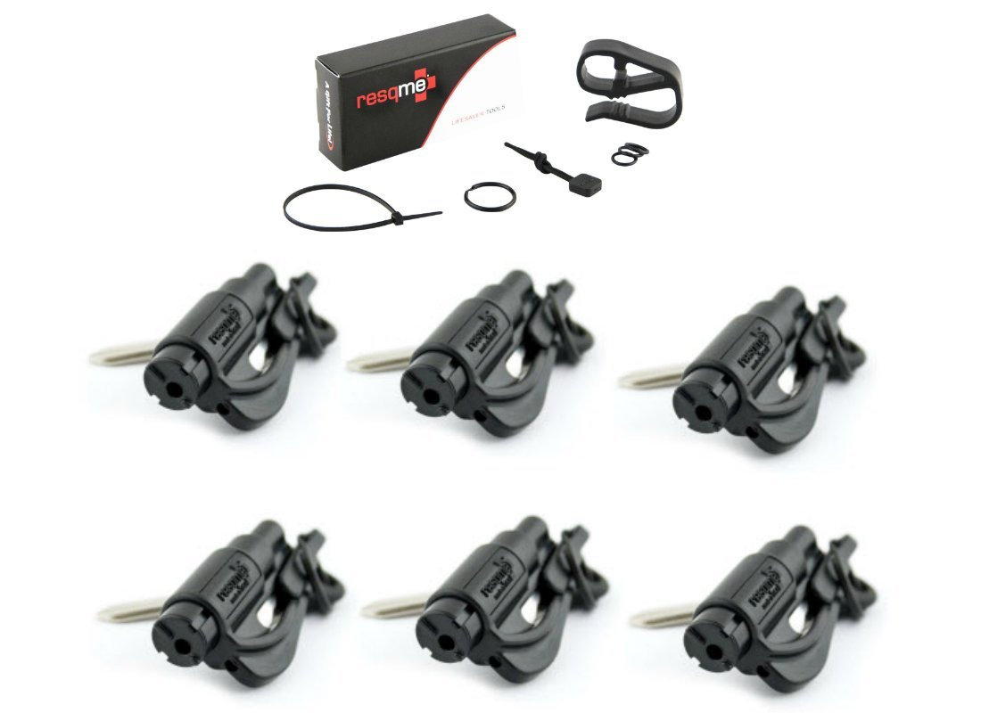 Resqme 6 Pack (Black) Resqme Car Escape Tool Plus One (1) FREE VISOR CLIP & LANYARD ACCESSORY PACK, The Original Keychain Car Escape Tool Made In USA - Window Glass Breaker & Seat Belt Cutter.