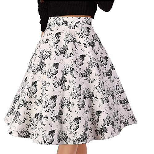 Musever Women's Pleated Vintage Skirts Floral Print Casual Midi Skirt White-Black Rose XXL