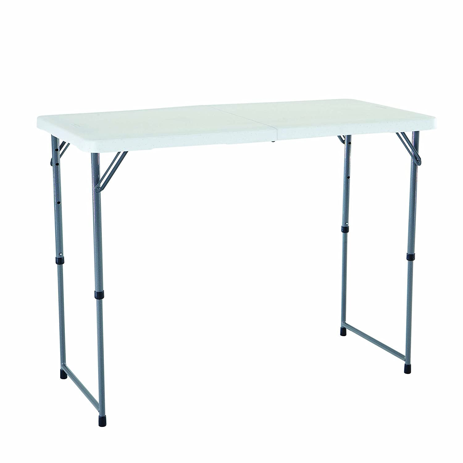 4 foot adjustable height folding table - Amazon Com Lifetime 4428 Height Adjustable Folding Utility Table 48 By 24 Inches White Granite Patio Lawn Garden