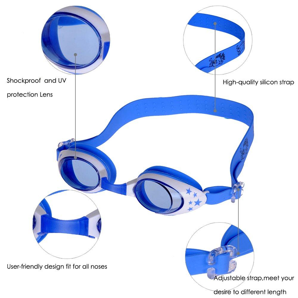 b0933e1dbc1 Sijueam Swimming Goggles Kids Anti Fog with Adjustable Silicone Strap Swim  Glasses Comfort Fit Cute Cartoon Swimwear  Amazon.co.uk  Sports   Outdoors