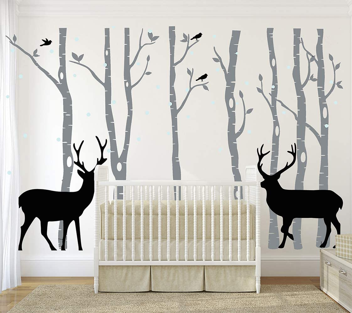 Amazon Com Luckkyy Birch Tree Deer Wall Decal Nursery Forest Removable Birch Trees Vinyl Sticker For Kids Bedroom Decor Nursery Bedroom Grey Home Kitchen