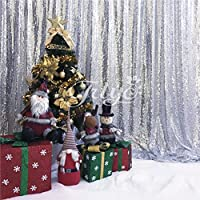 TRLYC 5FTx7FT Sparkly Silver Sequin Backdrop Sequin Curtain for Christmas Day