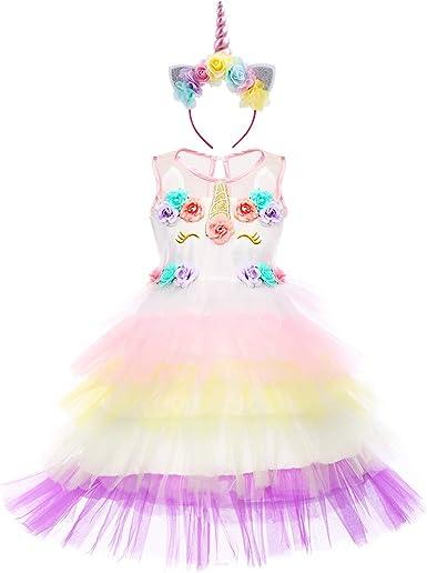 Niña Vestido Princesa Unicornio Disfraz de Verano Cosplay Tutu ...