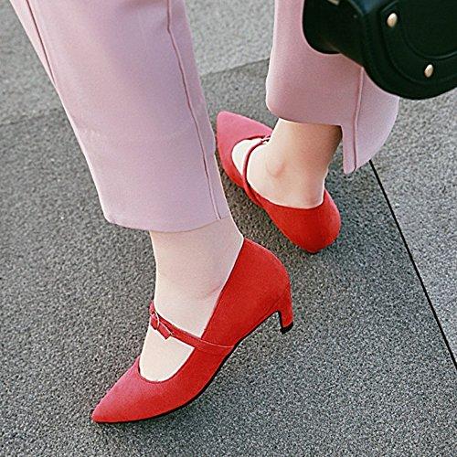 Zehenmode Pumps mit und Red Marry SJJH Nubukleder Material aus Kittenabsatz Jane spitzer Shoes BUqxwX