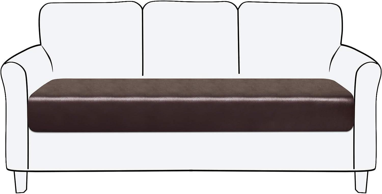 subrtex Funda de Cojin del Asiento para Sofá de Cuero Impermeable Protector para Asientos de Sillón (3 Plaza, Chocolate Cuero)