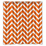 Chevron Shower Curtain - Orange White Zigzag Pattern Stripes - Custom Fashion Personalized Bathroom Curtains Waterproof Polyester Fabric 66(w)x72(h) Rings Included