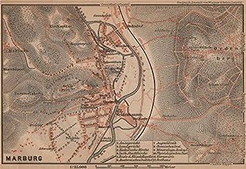 Marburg Antik Town City Stadtplan Hessen Karte Baedeker 1900
