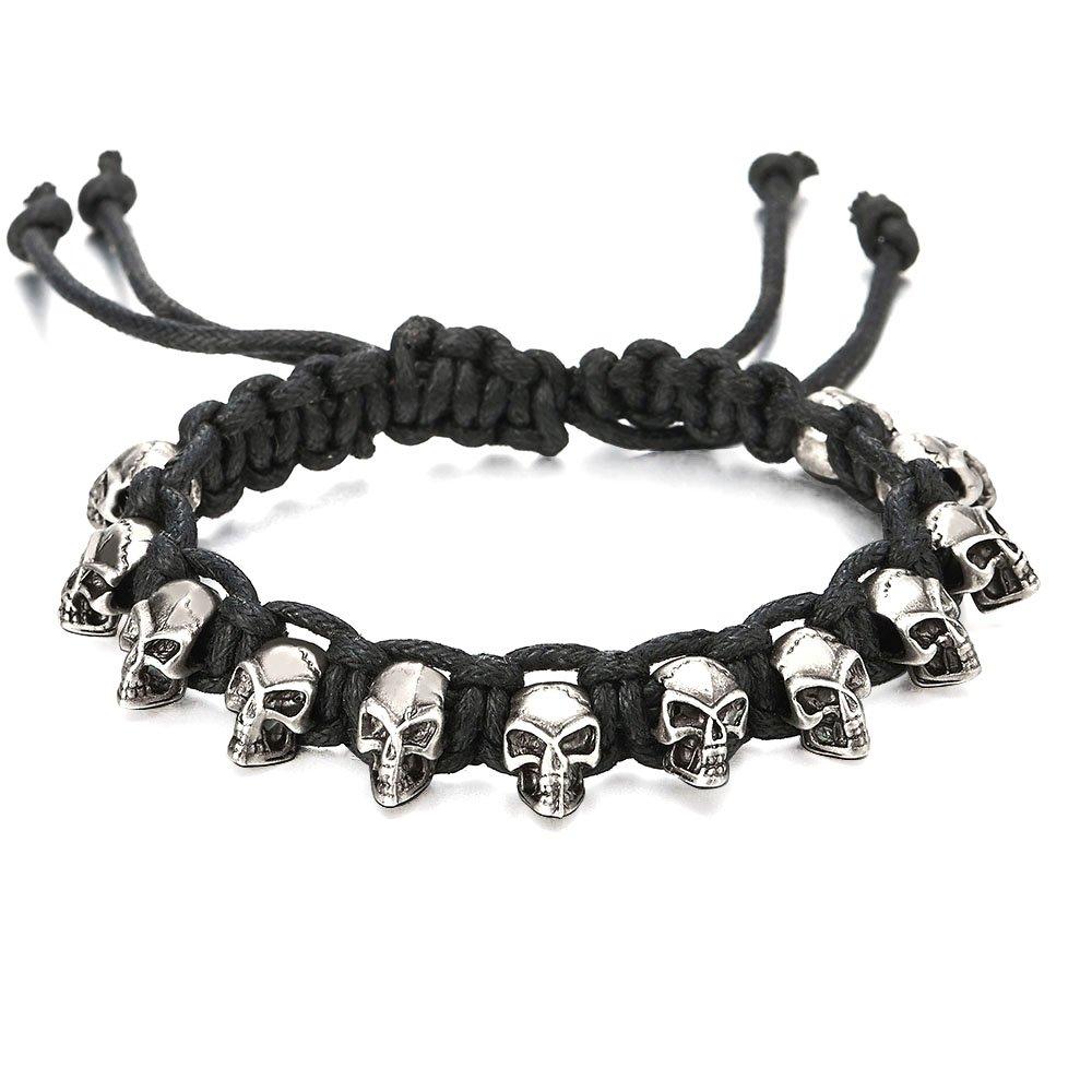 COOLSTEELANDBEYOND Mens Women Skulls Rope Cotton Braided Bracelet, Black Wristband Wrap Bracelet, Adjustable