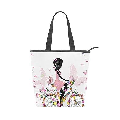 9c6b57e4f9 Ahomy Women Handbag Girl On A Bicycle Butterflie Tote Bag Top Handle ...