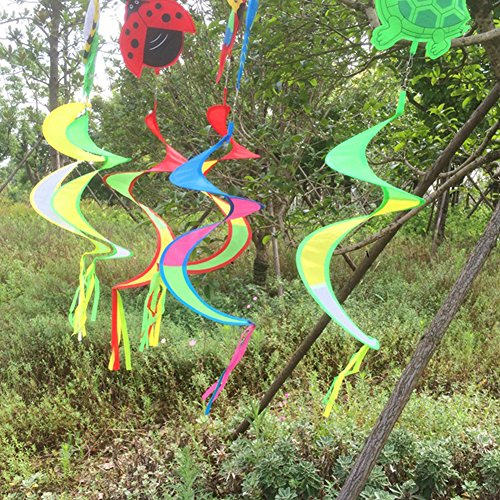 Deboc cute animal spiral windmill colorful wind spinner for Butterfly lawn decorations