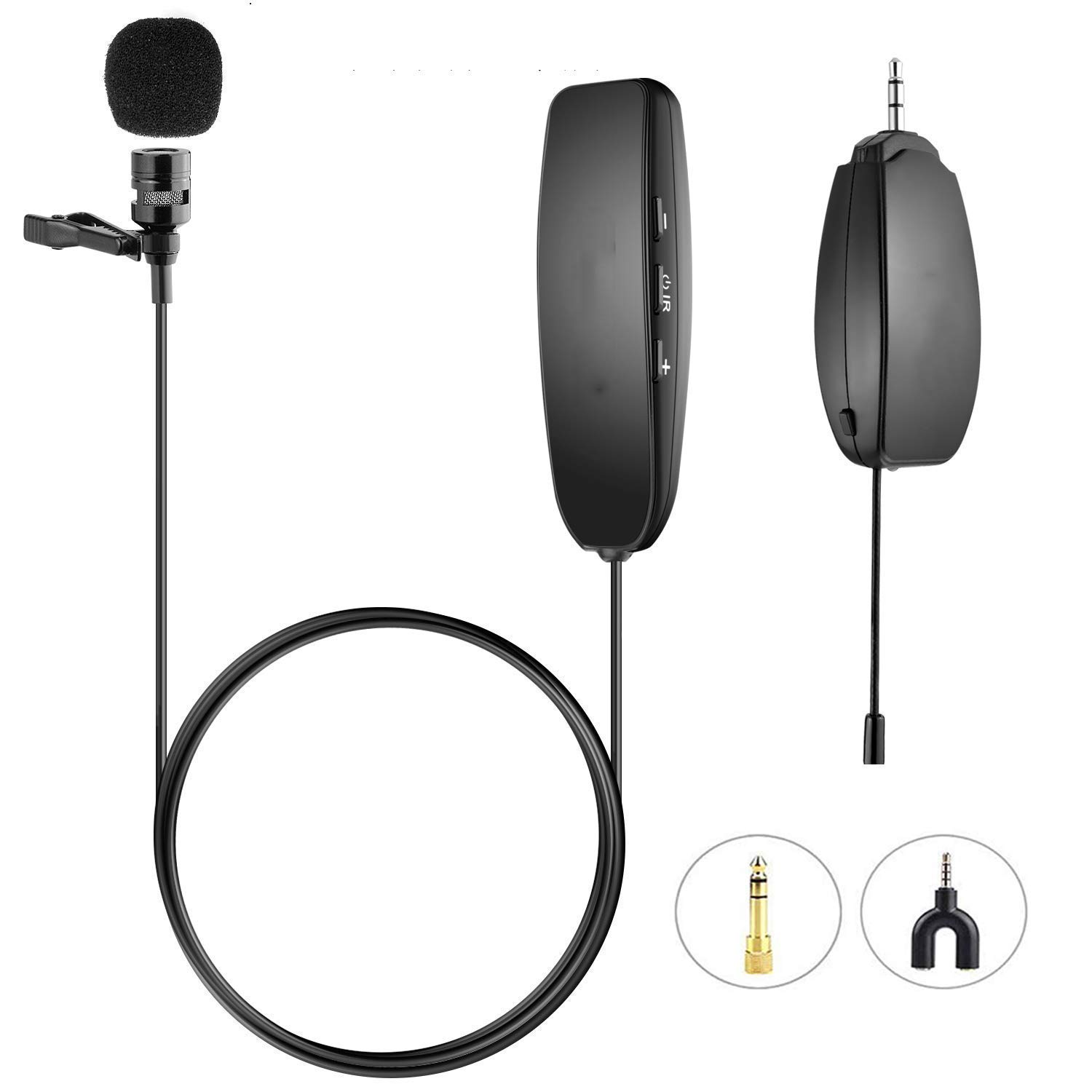 Wireless Lapel Microphone Lavalier Microphone 150ft Stable Wireless Transmission Voice Recording for Phones, Cameras, Voice Amplifier for Speakers by Hafone