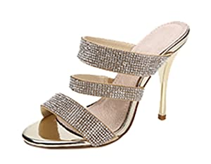 Women's Classic Simple Open Toe Dress Slip On Stiletto High Heels Slide Sandals Gold PU Size 7.5 EU38