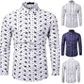 Birdfly Men's Crown Printed Long Sleeve Shirts Fashion Cultivation Blouse Shirts White