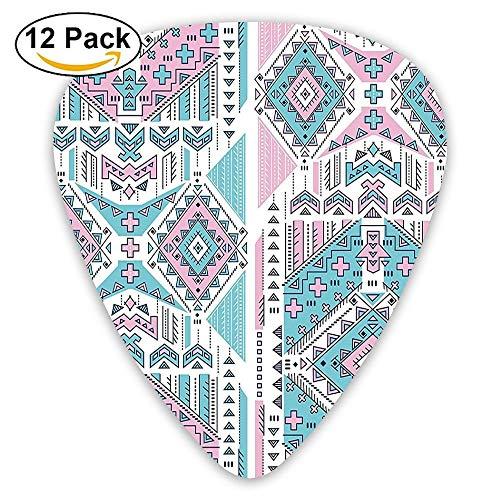 Geometric Bohemian Indian Aztec Design Vintage Stylized Pastel Colors Guitar Picks 12/Pack Set