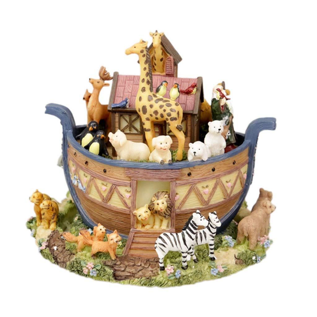 Boîte à musique rougeative, boîte de rougeation du monde animal de l'arche de Noé pour cadeau d'anniversaire cadeau de fête des enfants
