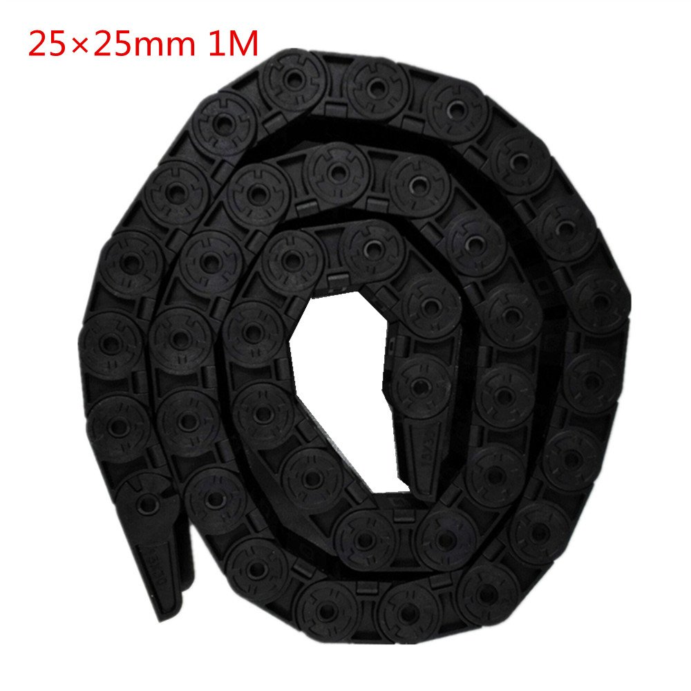 Drag Chain Cable Wire Carrier 25mm x 25mm Plastic for CNC Machine Black 1M