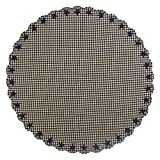 VHC Brands 20214 Black Star Scalloped Table Cloth Round, 70'' Diameter