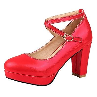 Damen High Heel Schnalle Leder-Pumps (37, Rot) MissSaSa