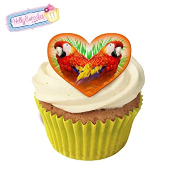 Parrots Tropical Kitsch 12 Edible Parrot Design Heart Cake