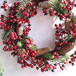 Fake Flower Christmas Wreaths Artificial Berries Natural Pine Nuts Combination Garlands Christmas Decoration for Home Party Outdoor 45Cm,45Cm Red 5