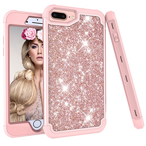 iPhone 6s Plus Case, Ankoe 3D Luxury Glitter Sparkle Bling Shiny Hybrid Sturdy Armor Defender High Impact Shockproof Protective Cover Case for Apple iPhone 6 Plus & 6s Plus (Rose Gold) (Plate Accent Green 9')