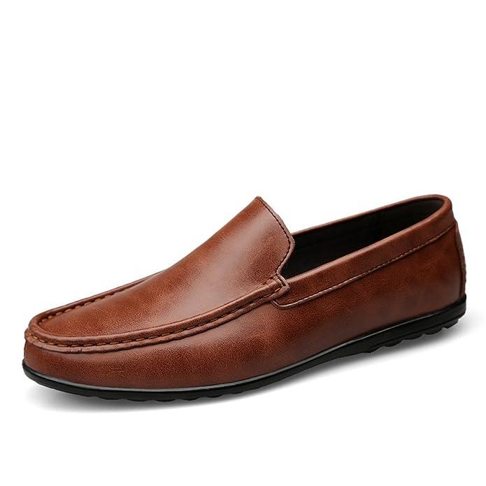 Hombre Que Conduce el holgazán Casual de Cuero Suave Estilo Antideslizante Respirable Fácil de Combinar Negocios Barco Mocasines: Amazon.es: Zapatos y ...